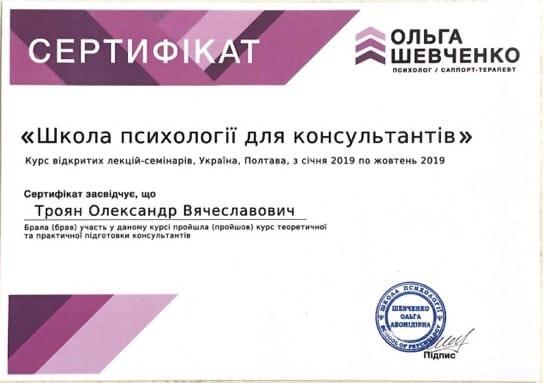сертификат Ольга Шевченко